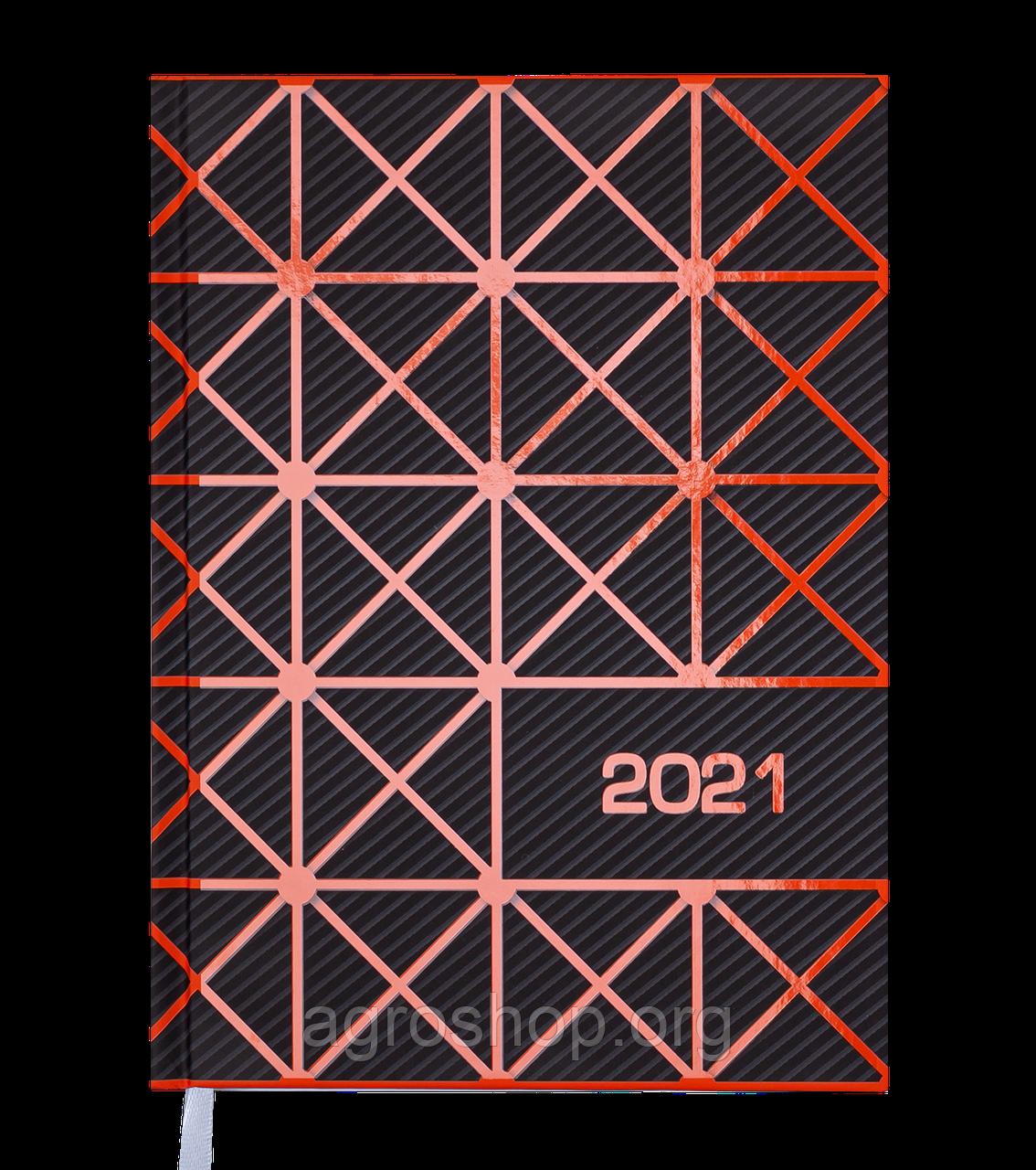 Щоденник датов. 2021 LINEA, А5, помаранчевий