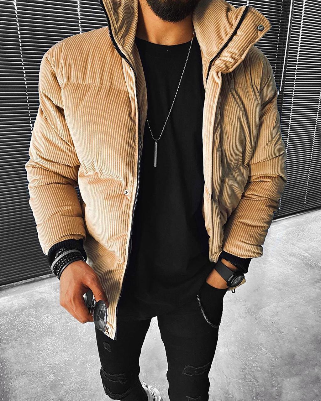 😜 Куртка - Мужскаяя куртка зима велюр (бежевая)