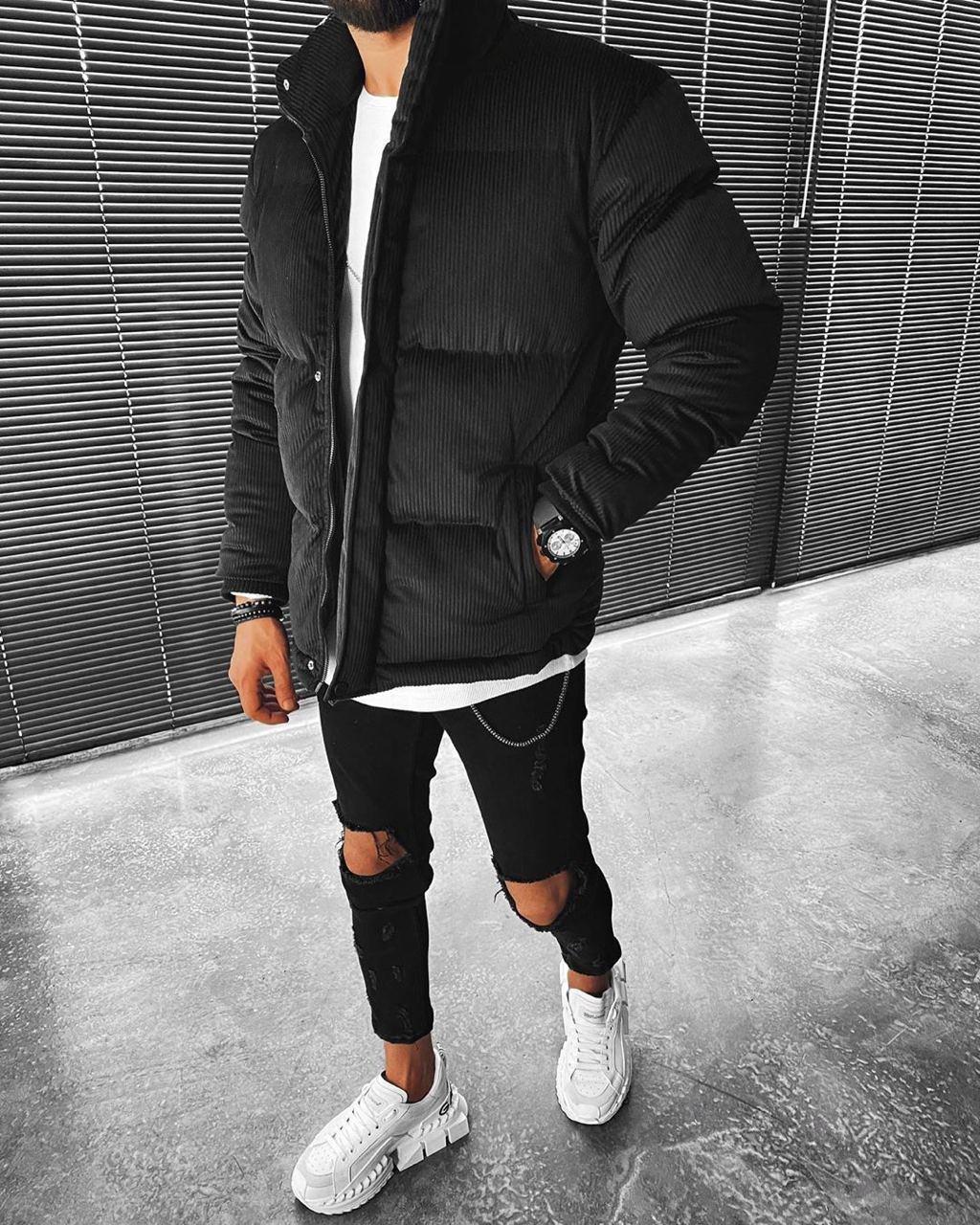 😜 Куртка - Мужскаяя куртка зима велюр (черная)