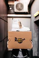 Белые ботинки Dr. Martens Classic White(МЕХ)   высокие кожаные Доктор Мартинс