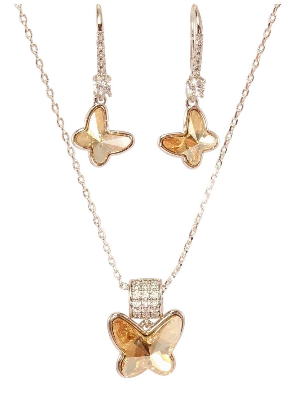 """Набор XP Родий с кристаллами Swarovski Серьги Кулон на цепочке """"Бабочки"""" длина 40-42.5см х 1мм"""