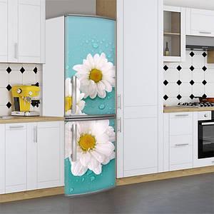 Виниловая наклейка на холодильник, ромашки с каплями, 180х60 см - Лицевая(В), с ламинацией