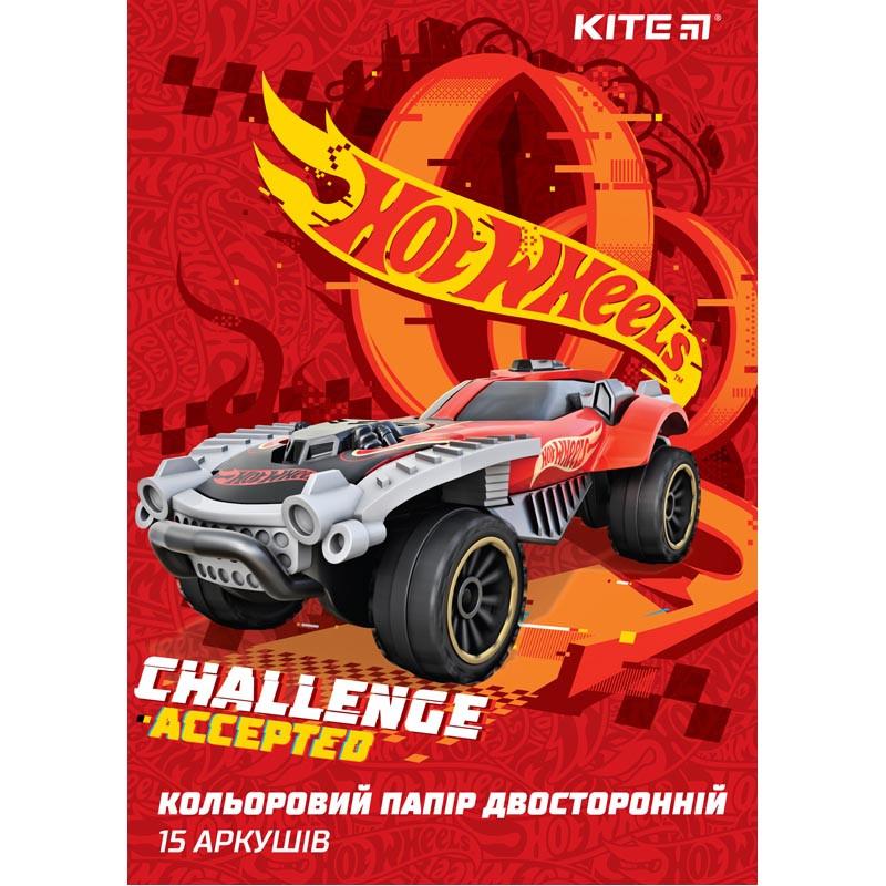 Бумага цветная двусторонняя (15лист/15цвет) А4 Hot Wheels KITE