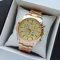 Мужские наручные часы Tissot (тисот) золотого цвета, антибликовое покрытие, дата - код 1734, фото 1