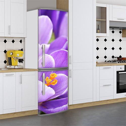 Виниловая наклейка на холодильник, Как изменить цвет холодильника, Самоклейка, 180 х 60 см, Лицевая (holSS1_fl101772 Цветы)