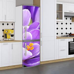 Виниловая наклейка на холодильник, цветы голубые, 180х60 см - Лицевая(В), с ламинацией