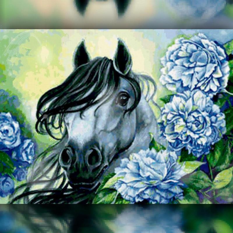 Алмазная вышивка мозаика The Wortex Diamonds Лошадь в цветах 40x50см TWD20031L полная зашивка квадратные
