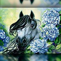 Алмазная вышивка мозаика The Wortex Diamonds Лошадь в цветах 40x50см TWD20031L полная зашивка квадратные, фото 1