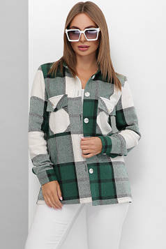 Трендовая теплая рубашка из турецкого кашемира в крупную клетку зеленая