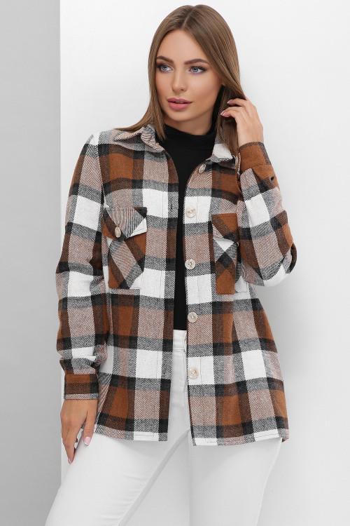 Трендовая теплая рубашка из турецкого кашемира в крупную клетку коричневая