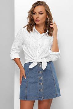 Женская рубашка из льняной ткани белая 48
