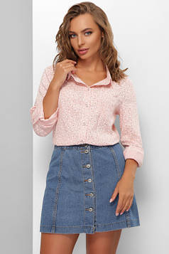 Женская рубашка из льняной ткани персиковая 48