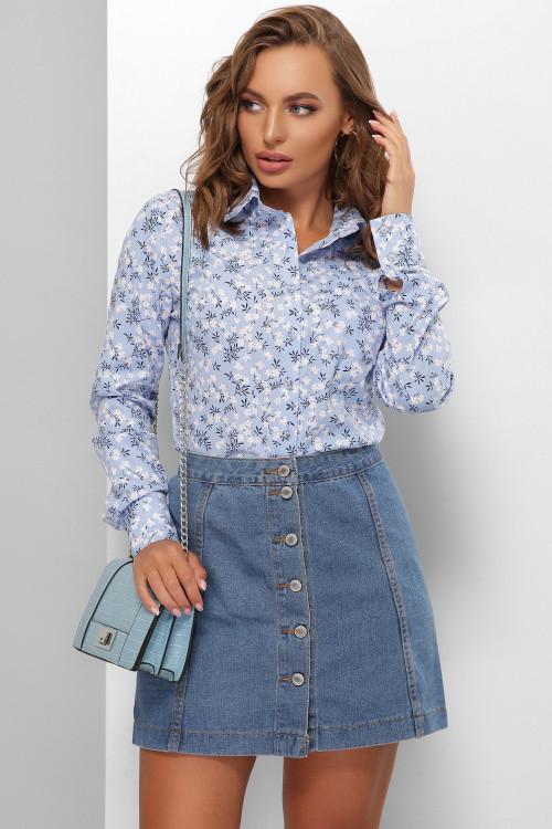 Женская стильная принтованная рубашка из стрейч котона голубая 48