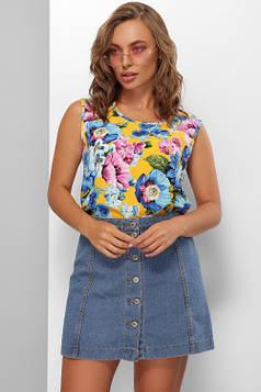 Стильная блуза из штапеля, сзади застежка на пуговицу желтая 42 р