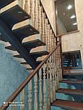 Ограждения лестницы из дерева стекла металла, фото 4