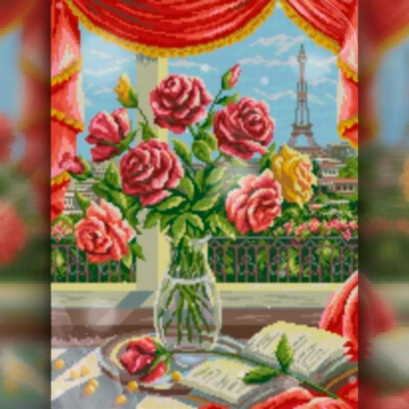 Алмазна вишивка мозаїка The Wortex Diamonds Ваза з квітами 40х50 TWD10039L повна зашивка квадратні стрази