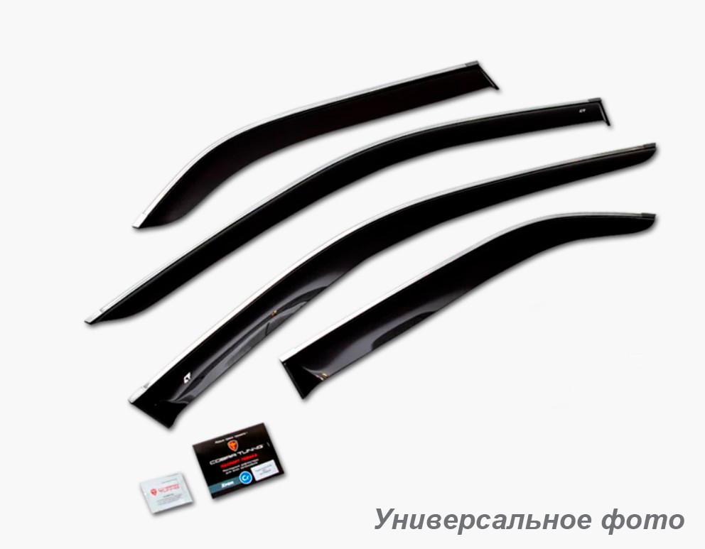Дефлекторы окон (ветровики) Hyundai Santa Fe III 2012- (с хром молдингом)
