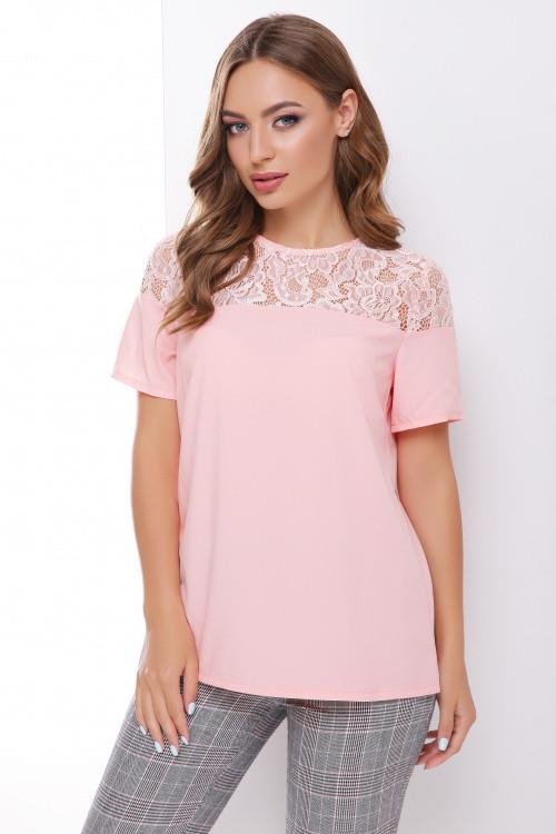 Легкая блуза с красивой кружевной кокеткой из гипюра пудра