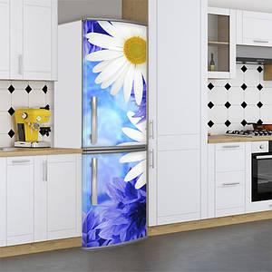Виниловая наклейка на холодильник, ромашки белые, 180х60 см - Лицевая(В), с ламинацией