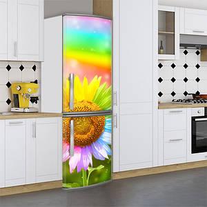 Виниловая наклейка на холодильник, подсолнух, 180х60 см - Лицевая(В), с ламинацией