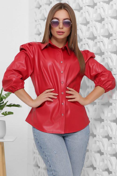 Женская блуза из эко-кожи красная 42 р