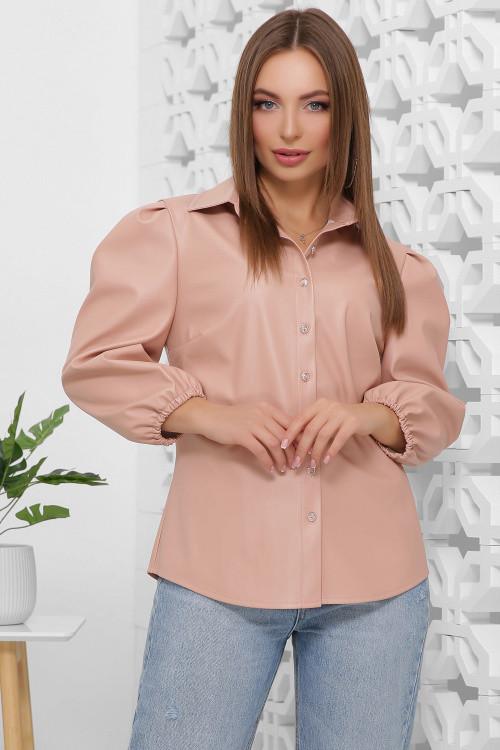 Женская блуза из эко-кожи пудра 42 р