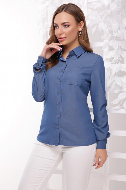 Женская стильная рубашка из коттона светлый джинс