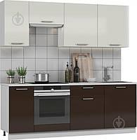 Кухня модульная готовая 2,2 метра из МДФ (белый, коричневый), фото 1
