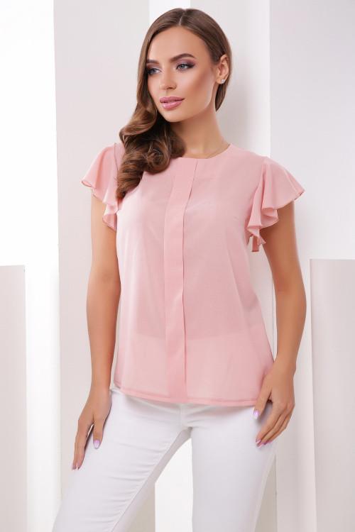 Женская блуза свободного кроя из тонкого и легкого креп-шифона пудра