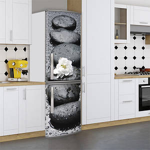 Виниловая наклейка на холодильник, ряд камней с цветком, 180х60 см - Лицевая(В), с ламинацией