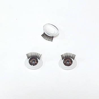 Очі для ляльок 3D з віями 10*8 мм, карі