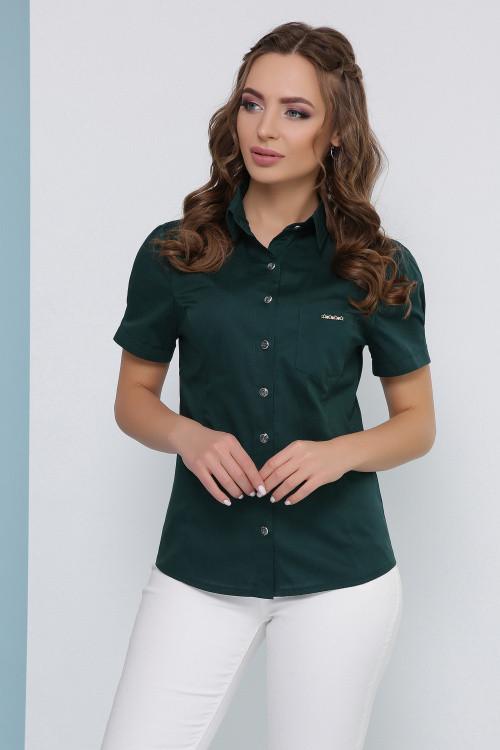 Женская блуза в рубашечном стиле изумрудная
