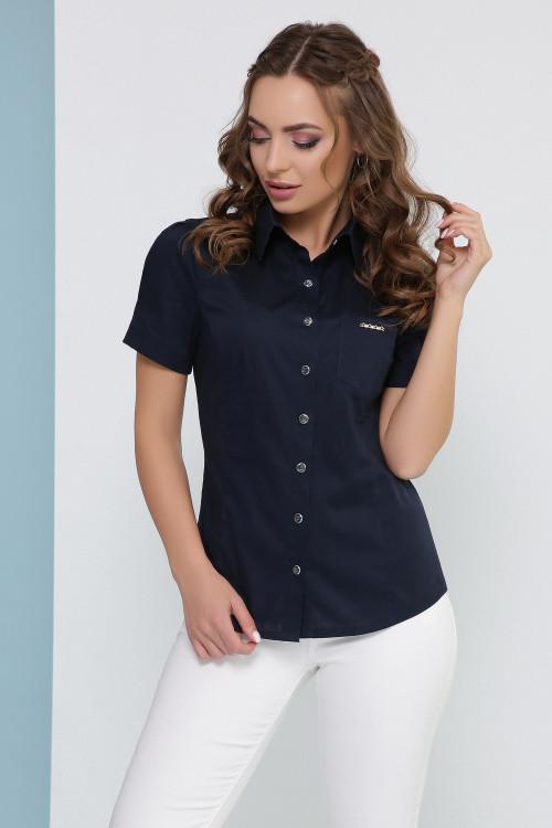 Женская блуза в рубашечном стиле темно-синяя