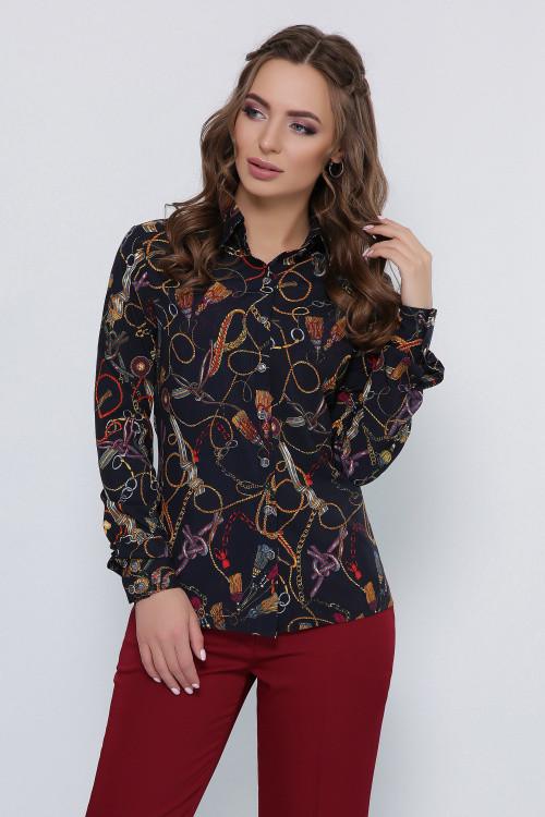 Красивая женская блузка темно-синяя