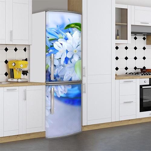 Виниловая наклейка на холодильник, Декор холодильника своими руками фото, Самоклейка, 180 х 60 см, Лицевая (holSS1_fl10694 Цветы)