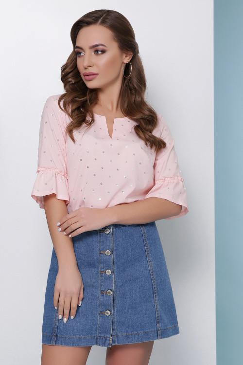 Оригинальная блуза из супер софта нежно-персиковая 46