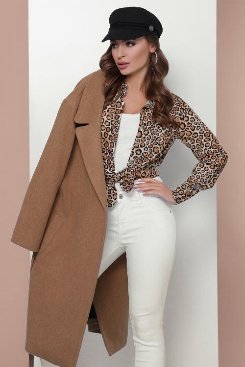Модная женская блузка бежевый леопард