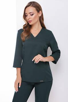 Стильная блуза приталенного силуэта темно-зеленая 42 р