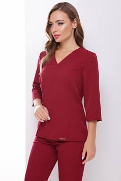 Стильная блуза приталенного силуэта бордовая 42 р-р