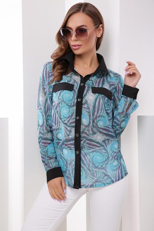 Женская шифоновая рубашка бирюза 42 размер