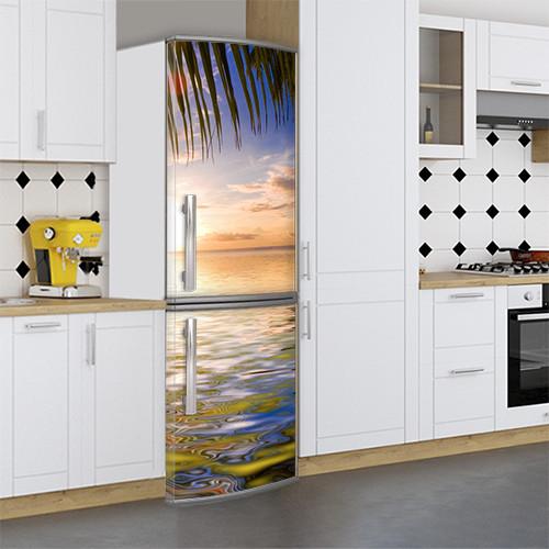 Виниловая наклейка на холодильник, Оклейка холодильника виниловой пленкой, Самоклейка, 180 х 60 см, Лицевая (holSS1_mp12512 Море)