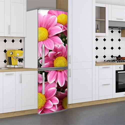 Виниловая наклейка на холодильник пленка для холодильника, Самоклейка, 180 х 60 см, Лицевая (holSS1_fl101591 Цветы)