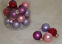 Новогодние стеклянные шарики 2,5 см 4 шт (разные)