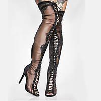 Весенние новые сапоги выше колена на шпильке на высоком каблуке из чистой пряжи с рыбьим ртом женские сапоги сексуальные ботинки для танцев на шесте