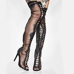 Весняні нові чоботи вище коліна на шпильці на високому каблуці з чистою пряжі з риб'ячим ротом жіночі чоботи сексуальні черевики для танців на жердині