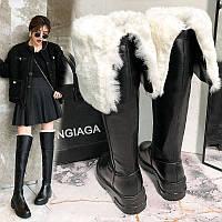 Европейские сапоги, детские осенне-зимние новинки, плюс бархатные теплые непромокаемые кожаные высокие сапоги Martin, ботфорты выше колена, зимние