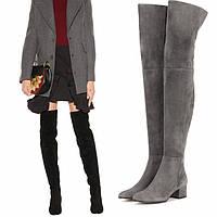 Осенне-зимние новые стильные плоские серые сапоги выше колена, модные женские сапоги, внешняя торговля, женская обувь больших размеров, европейский и