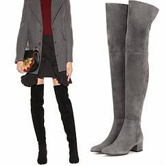 Осінньо-зимові нові стильні плоскі сірі чоботи вище коліна, модні жіночі чоботи, зовнішня торгівля, жіноче взуття великих розмірів, європейський і