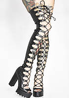 Подиум для ночного клуба, толстые туфли на очень высоком каблуке, сандалии с высоким каблуком и шнуровкой, длинные сапоги выше колена с заклепками и