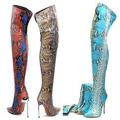 Зовнішня торгівля: великі розміри вище коліна, тонкі еластичні черевики, надвисокий каблук-шпилька, подіум з малюнком пітона чарівного кольору,
